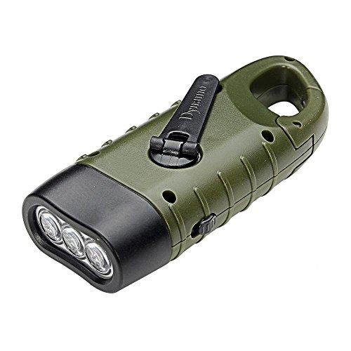 Pawaca LED Taschenlampe, Hand Kurbeln Dynamo Solar Powered wiederaufladbare Taschenlampe mit Karabiner, tolle Mini-Taschenlampe für Outdoor Camping Boote Wandern Klettern Angeln Jagd