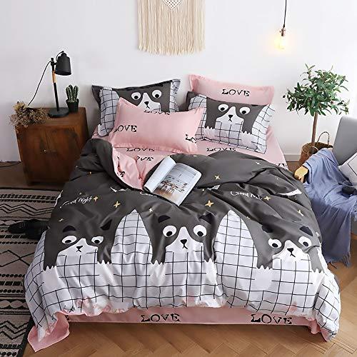 LPC Katze Panda Cartoon Animal Print Bequeme Bettwäsche Vierteilige Bettwäsche Dreiteilige Aloe Baumwolle Blatt Kissenbezug Bettbezug Mode (Farbe : Gray, Size : 180 * 220cm) -
