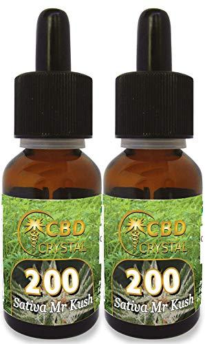 fumidea/CBD CRYSTAL 400 2 x E-Líquido Sabor Sativa Master khus 200mg. Liquido para Cigarrillo electronico. SIN NICOTINA.