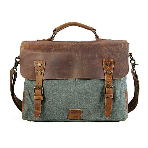 TIDING Schulter Tasche für Männer, Baumwolle, Original Leder, Freizeit, Schule, Outdoor, Reisen grün (Original-designer-taschen)