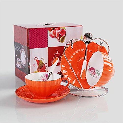 Ensemble de tasse de café en céramique / tasse de café / tasse de fleur pastorale créative / 2 tasses 2 tasses 2 cuillères à soupe (4 couleurs en option) ( couleur : B )