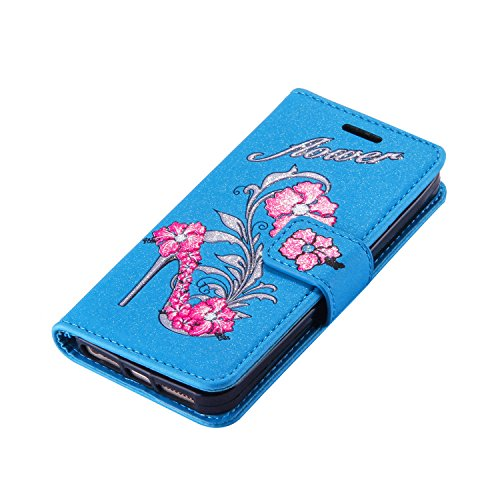 iPhone 5 5S 5G / iPhone SE Étui Housse, Coque iPhone 5 5S 5G / iPhone SE, Ecoway High heels pattern Series PU Case Cover Flip Cover Emplacement de Carte de Portefeuille Pour iPhone 5 5S 5G / iPhone SE Bleu
