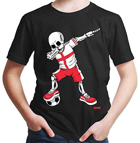 England Kostüm Männlich - HARIZ Jungen T-Shirt Fussball Dab Skelett England Land Trikot Plus Geschenkarte Schwarz 164/14-15 Jahre