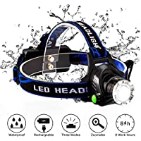 Snorda LED Head Torch Lightweight Waterproof Adjustable Angle Rechargeable Headlamps for Camping, Reading, Running, Cycling, Climbing, Dog Walking, Hiking, Fishing and DIY