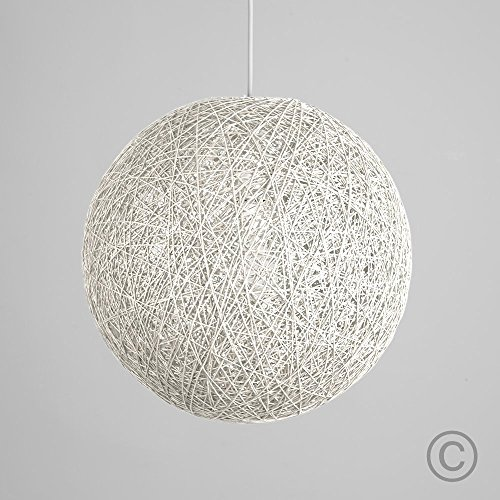White ceiling lampshade amazon modern medium white lattice wicker rattan globe ball style ceiling pendant light lampshade mozeypictures Image collections