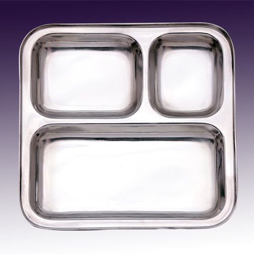 SSSILVERWARE Stainless Steel Three Compartment Square Plate / Thali/ Mess Tray/ Dinner Plate Set of 1 pcs- 24.5 cm each  available at amazon for Rs.244
