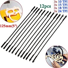 12pcs 5 Inch 125mm Pinned Scroll Saw Blades Woodworking Power Tool Accessories