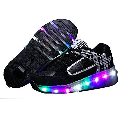 Zombies Jungen Mädchen Roller Skate Schuhe mit Rädern Licht Schwarz / Weiß