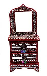 A Indian Home Decor Glitter Mirror Work Beaded Mirror Jewellery Boxes Lac Item (Red)