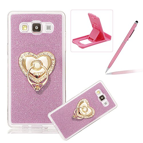 Coque Galaxy E7, Housse Etui pour Samsung E7, Herzzer Coque en Silicone Luxe Glitter Bling Crystal Rainbow Gradient Couleur Design Cover Ultra Mince Flex Soft Skin Extra Slim TPU Case Cover Protecteur Rose + Coeur Stand Support