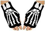 Black Out Fingerlose Skelett Knochen Gothic Handschuhe Handstulpen, S-L, Schwarz, Weiß