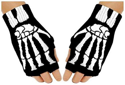 Black Out Fingerlose Skelett Knochen Gothic Handschuhe Handstulpen, S-L, Schwarz, Weiß (Skelett Handschuhe Knochen)