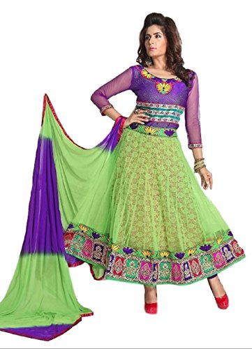 N N Enterprise Women's Satin Full Stitched Suit (kfh 4001-Mhendi_Green_42)