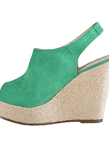 GS~LY Chaussures Femme - Habillé - Vert / Rouge - Talon Compensé - A Bride Arrière - Sandales / Talons - Daim red-34