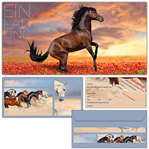 12er Karten-Set 'Pferd' Einladungskarten inklusive Umschläge - Einladungen zum Geburtstag für Mädchen Jungen Kindergeburtstag Party - von BREITENWERK