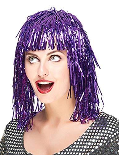 Piccoli monelli parrucca metallizzata donna per carnevale parrucca fili viola adatta anche per serate disco