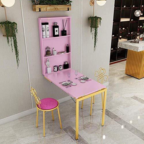 Bzwj Regal Laptop Tisch Wandhalterung Schreibtisch Massivholz Ausklappbares Cabrio mit Stauraum Schwebender Schreibtisch Rosa, weißer Klapptisch,Rosa,60 * 120 * 75 cm