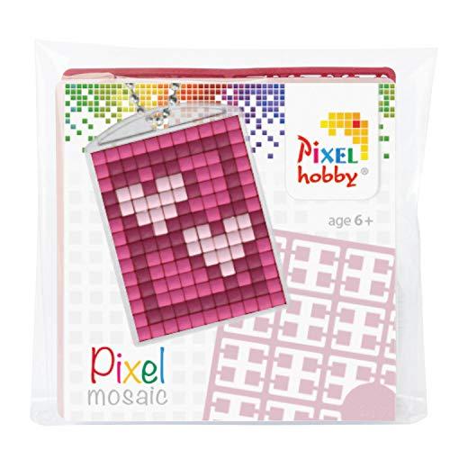 Pracht Creatives Hobby P23018 Pixel Médaillon 2 Coeurs Anneau Clés Pendentif Enfant Garçon Filles Cadeau Petit Cadeau Bouchon Cadeau pour Anniversaire Enfant Multicolore