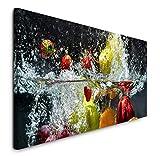 Paul Sinus Art GmbH Obst und Gemüse in Wasser 120x 50cm Panorama Leinwand Bild XXL Format Wandbilder Wohnzimmer Wohnung Deko Kunstdrucke