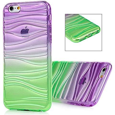 MAXFE.CO iPhone 6/6S 4.7'' Custodia ,Cover Silicone morbido per iPhone 6/6S 4.7 Polilce Custodia Case Ultra Sottile in TPU Silicone semplice ma elegante - Design 3D wave(Porpora+Verde)