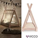 Vicco Kinderbett Tipi Kinderhaus Indianer Zelt Bett Kinder Holz Haus Schlafen Spielbett Hausbett 70x140 (Natur)