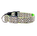 XIAOL Home 1 STÜCKE Wiederaufladbare Nacht LED Hundehalsband Mode Leopard Muster Durable Nylon Kragen Heimtierbedarf