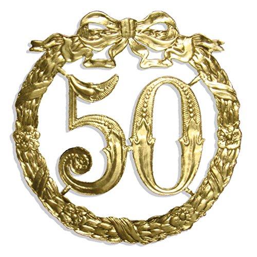 Kunze A014024501 Jubiläumszahl 50, Ø 13 cm, Gold
