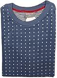 Übergrößen Damen Polar Frottee Pyjama mit Rundhals, Oberteil Sternchen, Hose Ringel, Jeans, 57979, Gr. 3XL 56/58