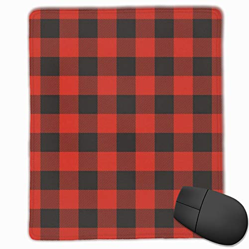 Mouse Mat Stitched Edges, Lumberjack Fashion Buffalo Style Checks Pattern Retro Style With Grid Composition,Gaming Mouse Pad Non-Slip Rubber Base Teal Buffalo
