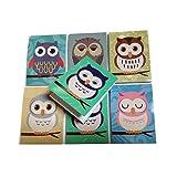 Kleine Notizblöcke mit süßem Eulenmotiv, für Kinder, 6 verschiedene Designs, 12 Stück Ideal als Geschenk für die ganze Klasse zum Schuljahresende oder zum Füllen von Geschenktüten