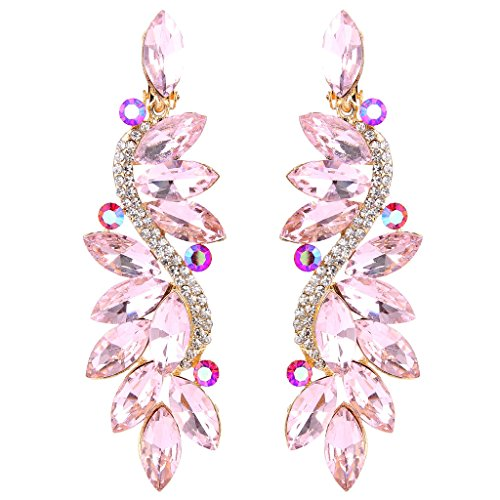 Clearine Women's Fashion Wedding Bridal Crystal Flower Romantic Dangle Clip-On Earrings