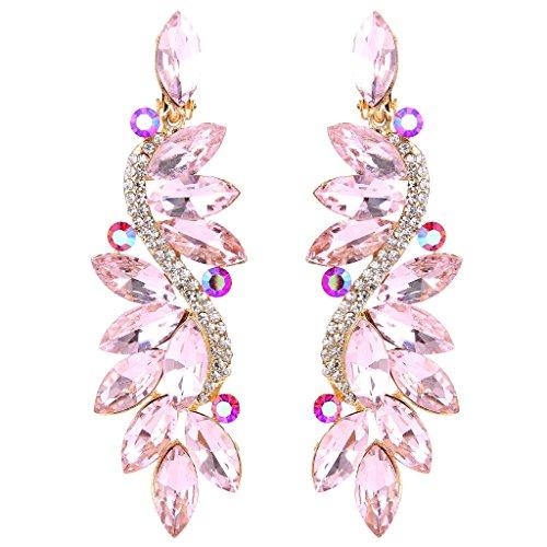 Clearine Damen Ohrringe Modern Hochzeit Braut Kristall Blume Romantik Dangle Ohrclips Gold-Ton Pink