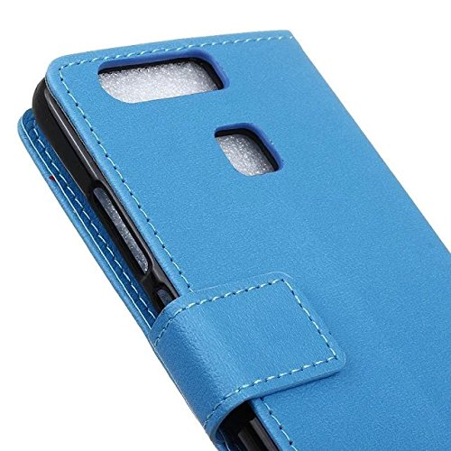 Solid Color Kas Textur Muster Leder Schutzhülle Case Horizontal Flip Standplatz Fall mit Kartennuten für Huawei P9 ( Color : Black , Size : Huawei P9 ) Blue