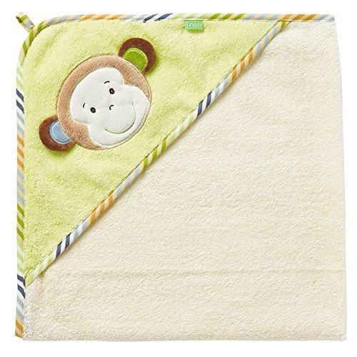 Fehn 081466 Kapuzenbadetuch Affe/Bade-Poncho aus Baumwolle mit Affen Motiv für Babys und Kleinkinder ab 0+ Monaten/Maße: 80x80cm