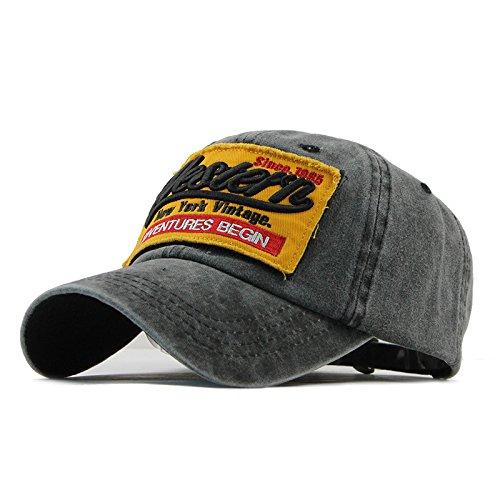 Sporty Trucker Baseballcap Western New York Cotton Distressed Snapback Vintage Cap (Schwarz) (Old-school-vintage)