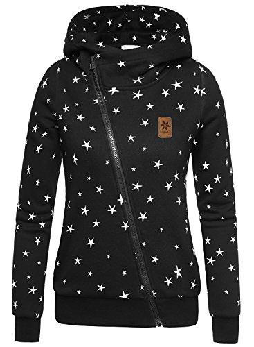 BAISHENGGT Damen Kurz Print Hoodie mit verschiedenen Mustern Kapuzenpullover Schwarz-Stern Large