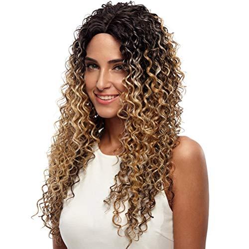 ZXJKU Noble Perücken für schwarze Frauen tiefe Welle Lace Front Perücken synthetische Haar 26 Zoll Ombre Farbe hitzebeständig Cosplay ()