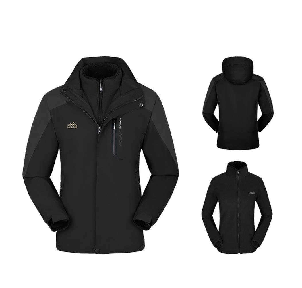 51gBqr6MgPL - 2 Pieces Set Outdoor Jacket, 3 in 1 Detachable Fleece & Hood Female Warm Coat Wear-Resistant Design Rain Coat for Travelling Camping