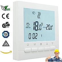 AVStar - Termostato inteligente programable para calefacción de calderas de gas - Pantalla LCD para facilidad de control y programación - carcasa e iluminación blanco elegante - funciona con pilas