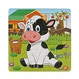 Sonnena Holzpuzzles, Komisch Milchkuh Holzspielzeug Karikatur Tierpuzzle Spielzeug Puzzle aus Holz Spielzeug Lernspielzeug Pädagogische Kinderspielzeug für Kinder ab 1-3 Jahre alt (14.7x14.7cm)