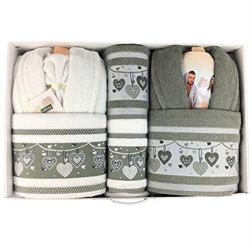 Completo bagno asciugamani accappatoi uomo donna set ferlen corredo idea regalo