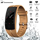 zeerkeer Smart Armband Fitness Uhr, Activity Tracker mit Herzfrequenz Monitor & Sleep Monitor Schrittzähler Smartwatch Bluetooth Nachrichten Benachrichtigung für iPhone Android iOS Smartphones 05027