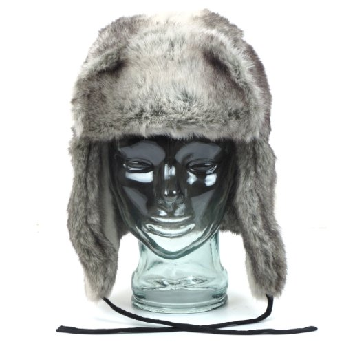 Russian style two tone silver faux fur trapper hat with chin tie