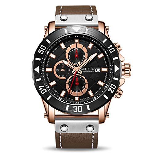 SBDONGJX Chronographe Sport Hommes Montres Top Luxe en Cuir Quartz Montre Hommes Horloge Montres Relogio Masculino Reloj Hombre