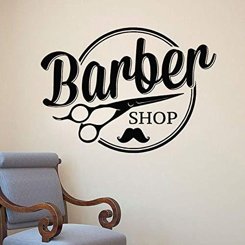 zqyjhkou Wand Vinyl Aufkleber Abnehmbare Fenster Haarschnitt Styling Wandaufkleber Haarschere Schnurrbart Design Wand Poster 42x30 cm -