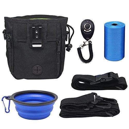 Yotako Hunde-Trainingstasche, Hund-Clicker + Zusammenklappbarer Futternapf + Futter-Tasche für Hundeleckerlies mit Handgelenk-Schlaufe zum Gassigehen. -
