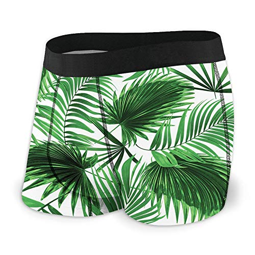 Generic Men's Underwear Sports Boxer Briefs, Realistic Vivid Leaves of Palm Tree Growth Ecology Lush Botany Themed Print,L -