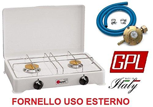 Réchaud de table Parker 2 feux alimentation gaz GPL (gaz dans les bouteilles) pour usage extérieur 2002 C - Fabriqué en Italie