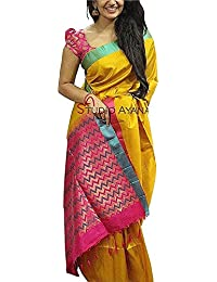 Harikrishnavilla Women's Cotton Silk Saree With Blouse Piece (Yellow Pinks Sadi01_Yellow)