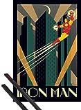1art1 Poster + Suspension : Iron Man Poster (91x61 cm) Marvel Comics, Art Déco Et Kit De Fixation Noir